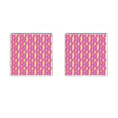 Pink Yelllow Line Light Purple Vertical Cufflinks (square)
