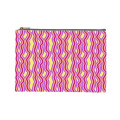 Pink Yelllow Line Light Purple Vertical Cosmetic Bag (Large)