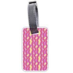 Pink Yelllow Line Light Purple Vertical Luggage Tags (One Side)