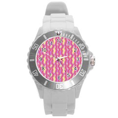 Pink Yelllow Line Light Purple Vertical Round Plastic Sport Watch (L)