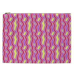 Pink Yelllow Line Light Purple Vertical Cosmetic Bag (XXL)