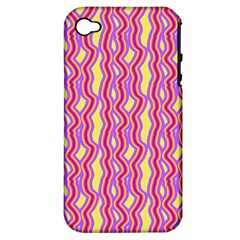 Pink Yelllow Line Light Purple Vertical Apple iPhone 4/4S Hardshell Case (PC+Silicone)