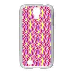 Pink Yelllow Line Light Purple Vertical Samsung GALAXY S4 I9500/ I9505 Case (White)