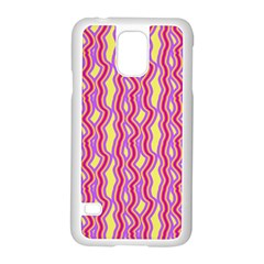 Pink Yelllow Line Light Purple Vertical Samsung Galaxy S5 Case (White)