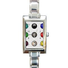 9 Power Buttons Rectangle Italian Charm Watch