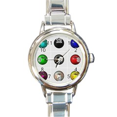 9 Power Buttons Round Italian Charm Watch