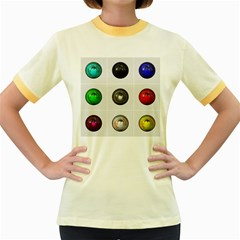 9 Power Buttons Women s Fitted Ringer T Shirts