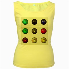 9 Power Buttons Women s Yellow Tank Top