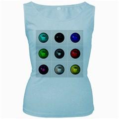 9 Power Buttons Women s Baby Blue Tank Top