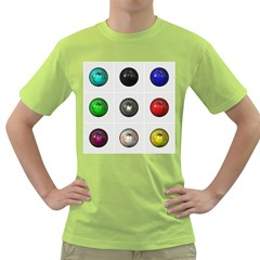 9 Power Buttons Green T Shirt