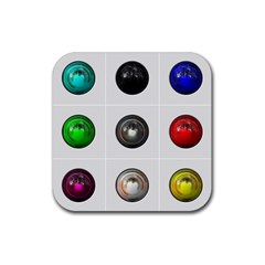 9 Power Buttons Rubber Coaster (Square)