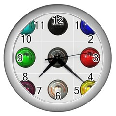 9 Power Buttons Wall Clocks (silver)
