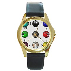 9 Power Buttons Round Gold Metal Watch