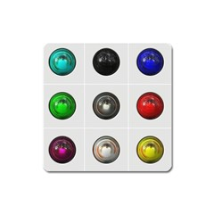9 Power Buttons Square Magnet