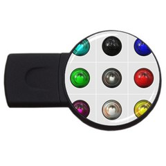 9 Power Buttons USB Flash Drive Round (2 GB)