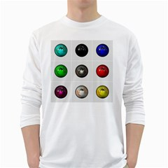 9 Power Buttons White Long Sleeve T-Shirts