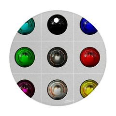9 Power Buttons Round Ornament (two Sides)