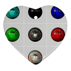 9 Power Buttons Heart Ornament (two Sides)