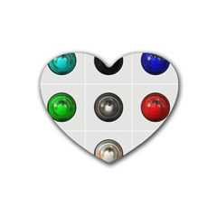9 Power Buttons Heart Coaster (4 pack)