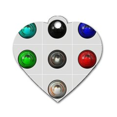 9 Power Buttons Dog Tag Heart (two Sides)