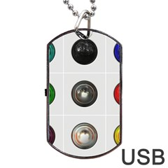 9 Power Buttons Dog Tag USB Flash (One Side)