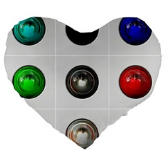 9 Power Buttons Large 19  Premium Heart Shape Cushions