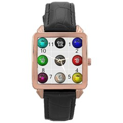 9 Power Buttons Rose Gold Leather Watch