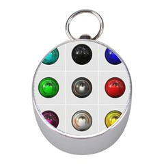 9 Power Buttons Mini Silver Compasses