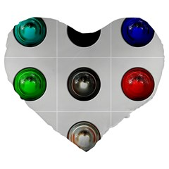 9 Power Buttons Large 19  Premium Flano Heart Shape Cushions