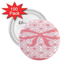 Pink Plaid Circle 2.25  Buttons (100 pack)