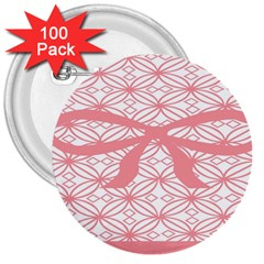 Pink Plaid Circle 3  Buttons (100 pack)