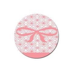 Pink Plaid Circle Magnet 3  (round)