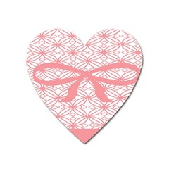 Pink Plaid Circle Heart Magnet