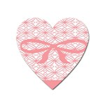 Pink Plaid Circle Heart Magnet Front