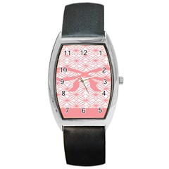 Pink Plaid Circle Barrel Style Metal Watch