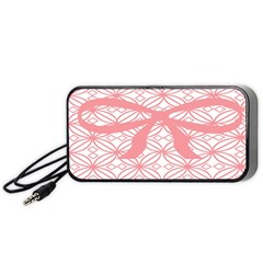 Pink Plaid Circle Portable Speaker (Black)