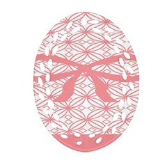 Pink Plaid Circle Ornament (Oval Filigree)