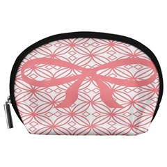 Pink Plaid Circle Accessory Pouches (Large)
