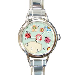 Buttons & Ladybugs Cute Round Italian Charm Watch