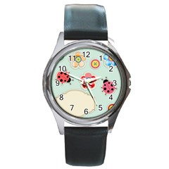 Buttons & Ladybugs Cute Round Metal Watch