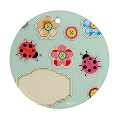 Buttons & Ladybugs Cute Ornament (Round)