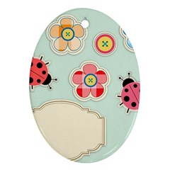 Buttons & Ladybugs Cute Ornament (Oval)