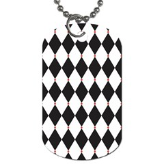 Plaid Triangle Line Wave Chevron Black White Red Beauty Argyle Dog Tag (two Sides)