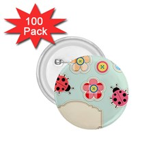 Buttons & Ladybugs Cute 1 75  Buttons (100 Pack)
