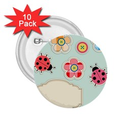 Buttons & Ladybugs Cute 2 25  Buttons (10 Pack)