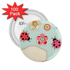 Buttons & Ladybugs Cute 2 25  Buttons (100 Pack)