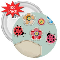 Buttons & Ladybugs Cute 3  Buttons (100 Pack)