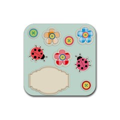 Buttons & Ladybugs Cute Rubber Coaster (Square)