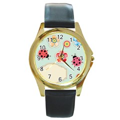 Buttons & Ladybugs Cute Round Gold Metal Watch