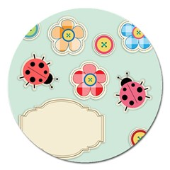 Buttons & Ladybugs Cute Magnet 5  (round)